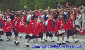 The Barnetog, or Children's Parade is a special feature of Norway's Independence Day celebration parade--the Syttendemaitog.