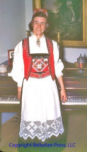 Author Faith R. Connors wearing her Norwegian national dress or bunad.