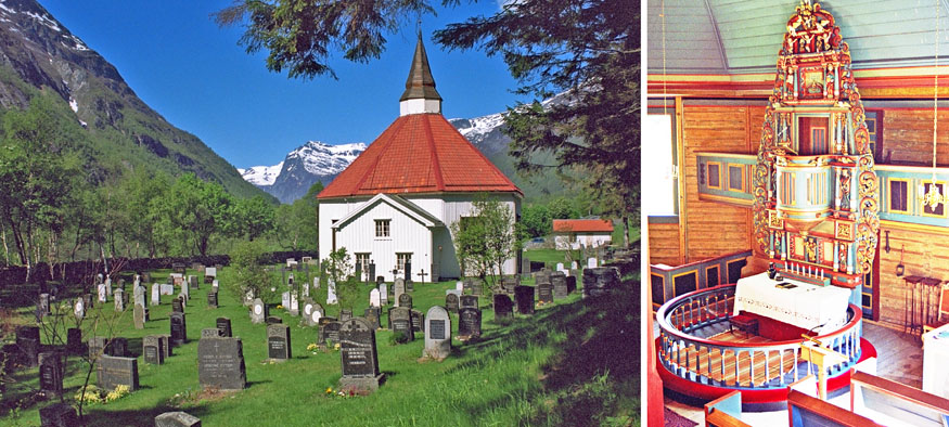 Designed by architect Ole P. Tøfte, the 265-seat church was established in the western portion of the Sunndalen valley, along the river Driva.